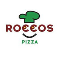 Rocco's Pizza in Mill Valley, CA green and red face logo